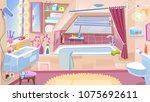 cartoon bathroom. bathroom...   Shutterstock .eps vector #1075692611