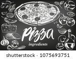 italian pizza   collection of... | Shutterstock .eps vector #1075693751