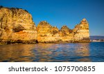 lagos caves and seashore with... | Shutterstock . vector #1075700855