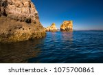 lagos caves and seashore with... | Shutterstock . vector #1075700861