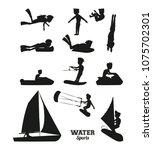 water sports silhouette   Shutterstock .eps vector #1075702301