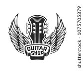 guitar shop. guitar head with... | Shutterstock .eps vector #1075705379