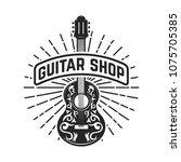 guitar shop. rock and roll.... | Shutterstock .eps vector #1075705385