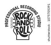 recording studio. guitar head... | Shutterstock .eps vector #1075705391