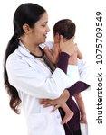 doctor woman with newborn baby | Shutterstock . vector #1075709549
