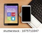 digital tablet with digital... | Shutterstock . vector #1075713347