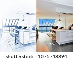 Blueprint of a Modern open kitchen in renovated house and result