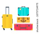 different types of baggage ... | Shutterstock .eps vector #1075724975
