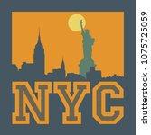 manhattan  new york city ... | Shutterstock .eps vector #1075725059