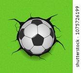 soccer ball on cracked...   Shutterstock . vector #1075726199