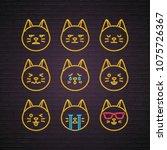 cat emoji set neon light... | Shutterstock .eps vector #1075726367