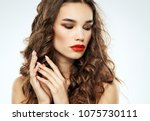 woman with red lips  make up    ... | Shutterstock . vector #1075730111