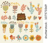 hand drawn vintage floral... | Shutterstock .eps vector #107573369