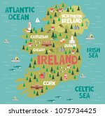 illustrated map of ireland with ... | Shutterstock .eps vector #1075734425
