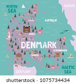 illustrated map of denmark with ... | Shutterstock .eps vector #1075734434
