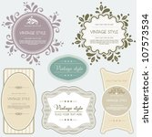 vintage vector set labels.... | Shutterstock .eps vector #107573534