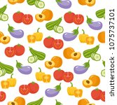 seamless pattern with summer... | Shutterstock .eps vector #1075737101