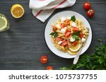 pasta salad with cherry... | Shutterstock . vector #1075737755