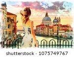 painting of standing girl in... | Shutterstock . vector #1075749767