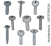 vector set of screw | Shutterstock .eps vector #1075759124