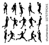 a set of detailed silhouette...   Shutterstock . vector #1075759241