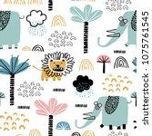 safari animals seamless pattern ...   Shutterstock .eps vector #1075761545
