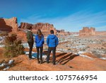 three friends enjoying the view ... | Shutterstock . vector #1075766954