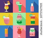 smoothies and fruit cocktails... | Shutterstock .eps vector #1075767935