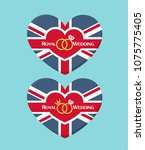 Icon Wedding invitation in the form of a heart textured under the British flag. On the card there is a crown, wedding rings and text: Royal Wedding. | Shutterstock vector #1075775405