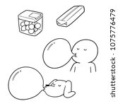 vector set of bubble gum | Shutterstock .eps vector #1075776479