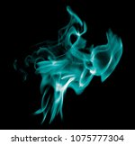 blue flame of fire on a black... | Shutterstock . vector #1075777304