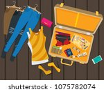 packed suitcase for summer...   Shutterstock .eps vector #1075782074