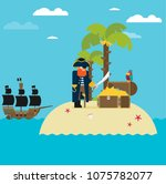 pirate and open treasure chest... | Shutterstock .eps vector #1075782077