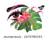 decorative eye with long... | Shutterstock .eps vector #1075785191