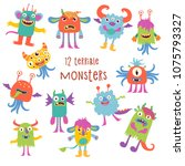 12 terribly cute monsters.... | Shutterstock .eps vector #1075793327