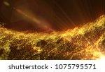 gold particles 3d render | Shutterstock . vector #1075795571
