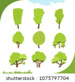 set of different stylized trees ... | Shutterstock .eps vector #1075797704