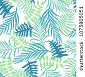 tropical background with palm... | Shutterstock .eps vector #1075805051