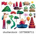vietnam isolated icons set of...   Shutterstock .eps vector #1075808711