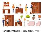 public library flat orthogonal... | Shutterstock .eps vector #1075808741
