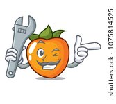 mechanic persimmon mascot... | Shutterstock .eps vector #1075814525