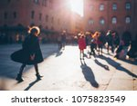 people walking in the old city. ... | Shutterstock . vector #1075823549