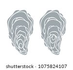 oyster set. isolated oyster  on ... | Shutterstock .eps vector #1075824107