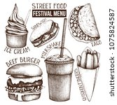 street food festival menu.... | Shutterstock .eps vector #1075824587