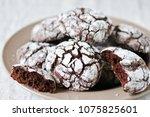 chocolate crinkle brownie... | Shutterstock . vector #1075825601