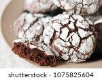 chocolate crinkle brownie... | Shutterstock . vector #1075825604