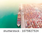 aerial view of sea freight ...