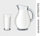 realistic transparent glass jug ... | Shutterstock .eps vector #1075834781