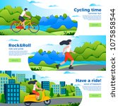 vector set of bright banner... | Shutterstock .eps vector #1075858544