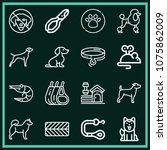 set of 16 animals outline icons ... | Shutterstock .eps vector #1075862009